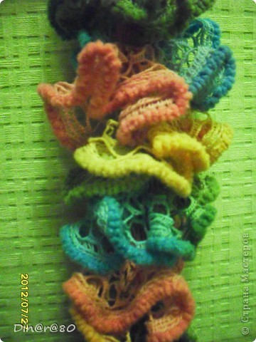 Вот такой шарфик для дочки связала из ленточной пряжи!  фото 3