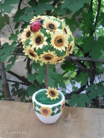 Мои любимые подсолнушки! Крона из цветков подсолнуха и шариков сизаля. фото 1