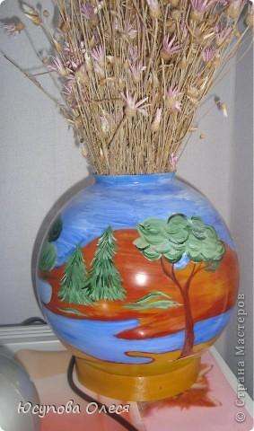Вот такие вазы мы сделали из старых плафонов. Рисовали акриловыми красками. фото 1