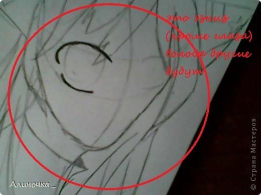 в 1 части мы начнём с лица .___. , насчёт лица мы рисуем девушку как вы поняли ))))) .Но 1 будет лицо...потом волосы...а до это мы дойдём давайте начнём  Первое рисуем , на мечание глаза =_= а то мне некоторые говорили не правильно рисуешь глаза...у каждого свой стиль .... фото 1