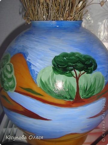 Вот такие вазы мы сделали из старых плафонов. Рисовали акриловыми красками. фото 2