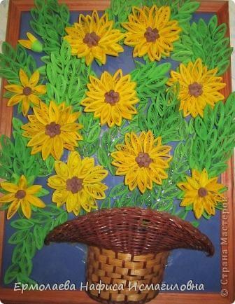 Солнечные цветы вольготно расположились в корзинке. фото 1