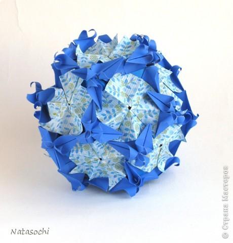 Добрый день. Еще одна кусудама на флешмоб.  立ち巻き Автор: Tomoko Fuse 30+30 модулей, бумага 3.75*7.5 cm собрана с клеем. фото 2
