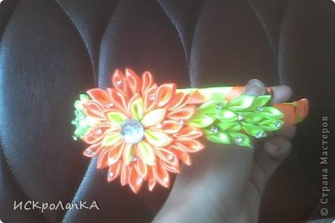 Объемная хризантема канзаши. На неведимке. Я считаю что немного криво)) фото 2