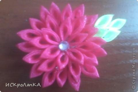 Объемная хризантема канзаши. На неведимке. Я считаю что немного криво)) фото 1