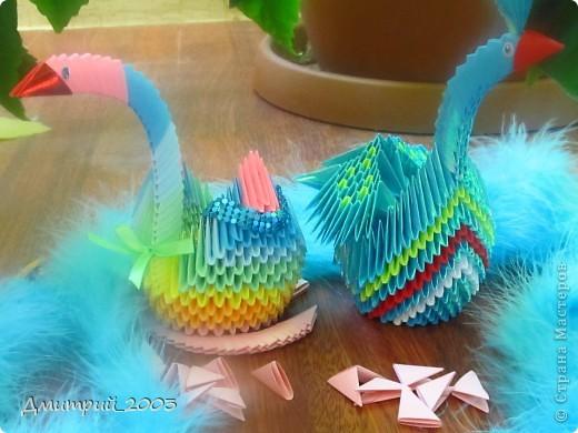 Я сделал первое своё оригами: радужного лебедя. (голубой полупавлин временно без хвоста - мамин:))  фото 1