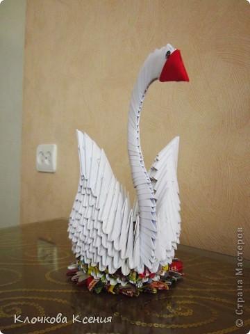"""О модульном оригами я вроде как слышала, но никогда не интересовалась. Пока однажды мне не позвонила бабушка с просьбой распечатать ей схему сборки лебедя. Оказывается у них, у бабушек во дворе, новое увлечение - модульное оригами, но они пока смотрят на привезенные кем то поделки, а повторить не могут. :)) Я приехала и привезла схему.  У бабушки не получается, я решила попробовать и уселась собирать лебедя, а она мне - """"Не так ты делаешь! Нам по другому показывали. Только у нас не получается.."""" Она собрала подружек, и пока они обсуждали верна моя схема или не верна, я собрала всего лебедя. :)) (Благо, пока бабушка не умела собирать оригами, она наделала целую корзинку модулей). фото 2"""