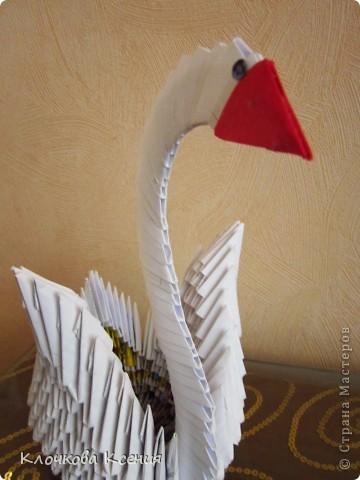 """О модульном оригами я вроде как слышала, но никогда не интересовалась. Пока однажды мне не позвонила бабушка с просьбой распечатать ей схему сборки лебедя. Оказывается у них, у бабушек во дворе, новое увлечение - модульное оригами, но они пока смотрят на привезенные кем то поделки, а повторить не могут. :)) Я приехала и привезла схему.  У бабушки не получается, я решила попробовать и уселась собирать лебедя, а она мне - """"Не так ты делаешь! Нам по другому показывали. Только у нас не получается.."""" Она собрала подружек, и пока они обсуждали верна моя схема или не верна, я собрала всего лебедя. :)) (Благо, пока бабушка не умела собирать оригами, она наделала целую корзинку модулей). фото 4"""