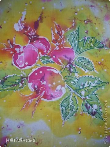 Плоды шиповника.Учусь рисовать батик. фото 1