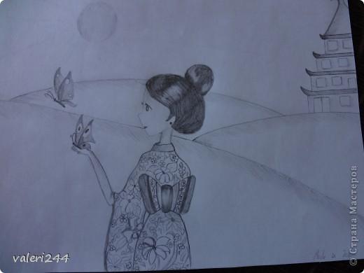 Всем привет! Вечерком мне нечего было делать,родители легли спать,а я достала бумагу,карандаш и начала рисовать точнее срисовывать. Это мои первые пробы нарисовать аниме. Вот выставляю их на показ. Эта аниме нарисована по мк  AmIkO так же как и все остальные. Вот ссылочка http://stranamasterov.ru/node/395578?tid=1218   фото 2