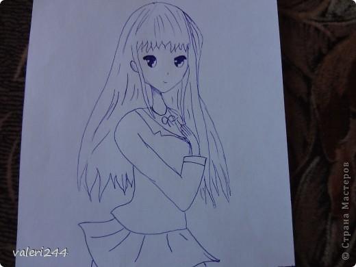 Всем привет! Вечерком мне нечего было делать,родители легли спать,а я достала бумагу,карандаш и начала рисовать точнее срисовывать. Это мои первые пробы нарисовать аниме. Вот выставляю их на показ. Эта аниме нарисована по мк  AmIkO так же как и все остальные. Вот ссылочка http://stranamasterov.ru/node/395578?tid=1218   фото 1