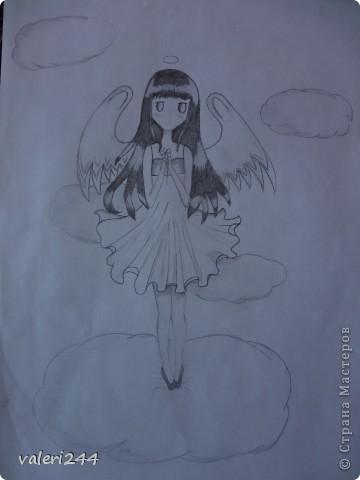 Всем привет! Вечерком мне нечего было делать,родители легли спать,а я достала бумагу,карандаш и начала рисовать точнее срисовывать. Это мои первые пробы нарисовать аниме. Вот выставляю их на показ. Эта аниме нарисована по мк  AmIkO так же как и все остальные. Вот ссылочка http://stranamasterov.ru/node/395578?tid=1218   фото 3