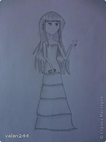 Всем привет! Вечерком мне нечего было делать,родители легли спать,а я достала бумагу,карандаш и начала рисовать точнее срисовывать. Это мои первые пробы нарисовать аниме. Вот выставляю их на показ. Эта аниме нарисована по мк  AmIkO так же как и все остальные. Вот ссылочка http://stranamasterov.ru/node/395578?tid=1218   фото 4