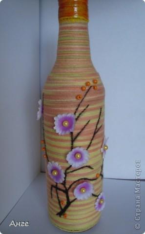 """Бутылочка """"Гюльчатай"""". В декоре использованы капроновые колготки, акриловые краски, компьютерная распечатка и бусинки. Сделана в подарок коллеге по работе. фото 2"""