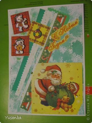 Я понимаю, что Новый год еще не скоро. Но к такому празднику лучше подготовиться заранее))) Из двух салфеток и бумаги, задекорированной акварельными красками, у меня получилась вот такая открыточка. фото 1