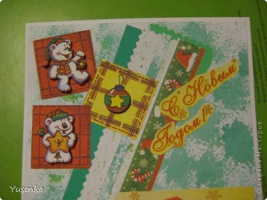 Я понимаю, что Новый год еще не скоро. Но к такому празднику лучше подготовиться заранее))) Из двух салфеток и бумаги, задекорированной акварельными красками, у меня получилась вот такая открыточка. фото 3