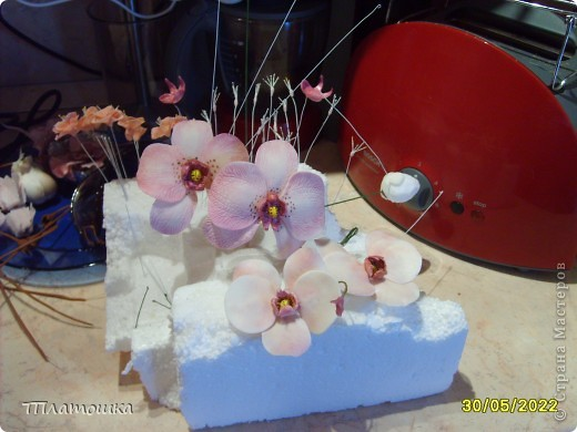 Доброго  времени суток дорогие мастерицы! Прошу помощи или совета. Вот решила попробовать сделать орхидеи, но что-то не получается у меня их собрать воедино. Толи цветы тяжеловаты получились, толи  делаю я чего то не так...Не крепятся они у меня к основному стеблю. Отваливаются. Уже разные соцветия пробовала делать, но потерпела фиаско. Буду рада вашим замечаниям и советам. фото 2