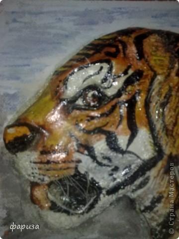 Девушка с тигром...Здравствуйте и спасибо что зашли!Эту картину начала было делать еще зимой,оставалось только подкорректировать и покрасить,да все руки не доходили.Вот вспомнила я про нее и решила доделать.Размер картины 35*45. фото 3
