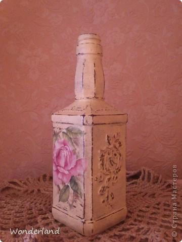 """Бутылка """"Старинная роза"""" + МК фото 1"""