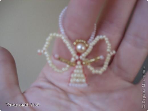 Игрушка Рождество Бисероплетение ангелочек из бисера Бисер фото 3.