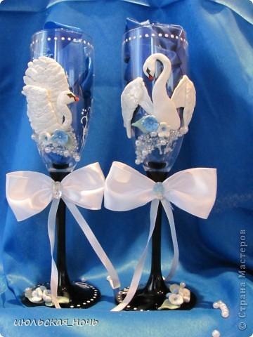 Вот такие бокальчики на свадьбу для одногрупницы)) большое спасибо всем мастерицам,благодаря МК которых я решилась на этот шаг))) фото 1