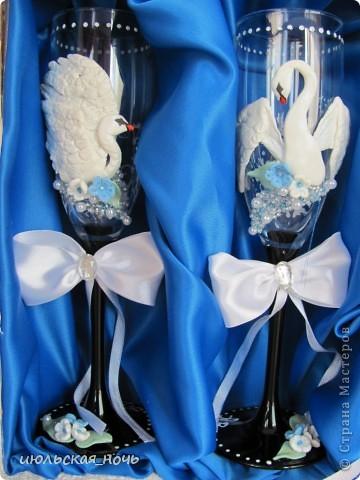 Вот такие бокальчики на свадьбу для одногрупницы)) большое спасибо всем мастерицам,благодаря МК которых я решилась на этот шаг))) фото 4