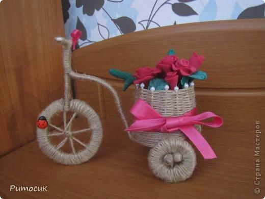 Решила сделать маме на 8 марта велосипедик с розами ( холодный фарфор). фото 1
