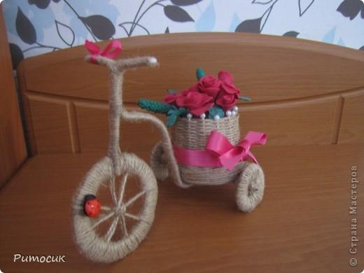 Решила сделать маме на 8 марта велосипедик с розами ( холодный фарфор). фото 2