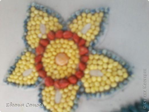 Это первая моя работа цветок из крупы фото 3