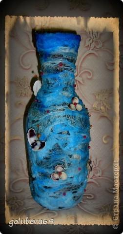Вазочка в морском стиле, декорированная морскими ракушками. фото 3