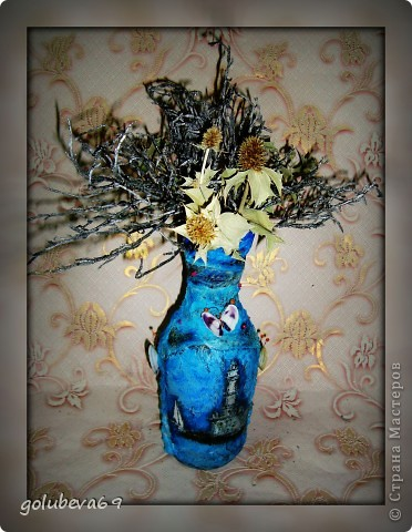 Вазочка в морском стиле, декорированная морскими ракушками. фото 1