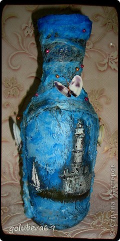 Вазочка в морском стиле, декорированная морскими ракушками. фото 2