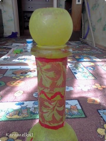 Вот она, моя работа :) Для декорирования этого кувшина мне понадобилось: -кувшин -салфетки -витражные контуры -клей ПВА -акриловая краска -и немного терпения :) фото 14