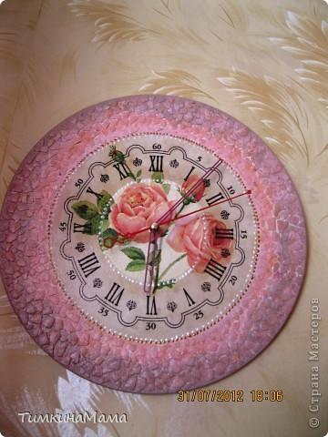 """Часы """"Розовое настроение"""" в гостиную на виниловой пластинке. фото 1"""