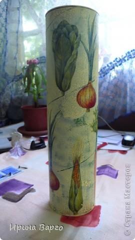 """Банка """"Овощи"""". Картонная коробка из-под бутылки, одношаговый кракелюр, салфетка, клей для декупажа """"Таир"""". фото 1"""