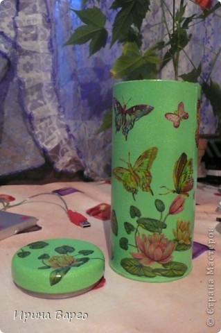 """Банка """"Овощи"""". Картонная коробка из-под бутылки, одношаговый кракелюр, салфетка, клей для декупажа """"Таир"""". фото 6"""