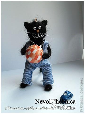 И снова котик))) и снова черный))) Только теперь он модный пацан с зачетной игрушкой в виде машинки) фото 7