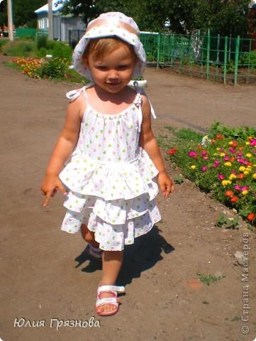 Панамка и платье для летних прогулок принцессы! Увидела эту ткань и не смогла пройти мимо, не купив ее, так она мне понравилась своей нежностью! фото 2