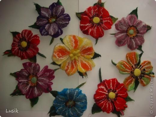 Первые мои валяные цветочки, немного смешные и совсем простенькие. фото 1