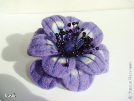Первые мои валяные цветочки, немного смешные и совсем простенькие. фото 4