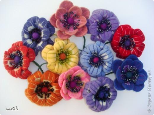 Первые мои валяные цветочки, немного смешные и совсем простенькие. фото 16