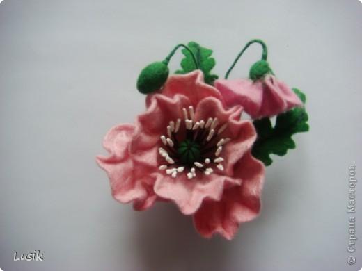 Первые мои валяные цветочки, немного смешные и совсем простенькие. фото 8