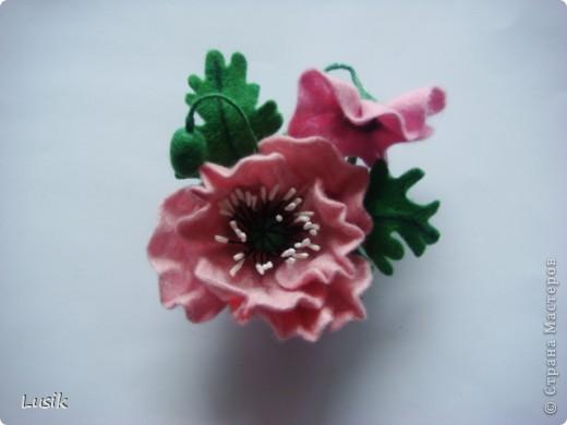 Первые мои валяные цветочки, немного смешные и совсем простенькие. фото 9