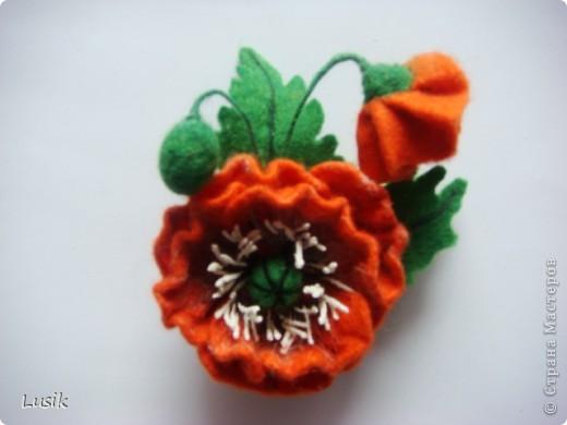 Первые мои валяные цветочки, немного смешные и совсем простенькие. фото 14