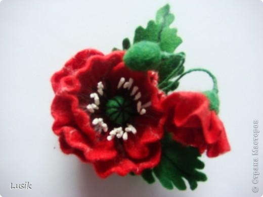 Первые мои валяные цветочки, немного смешные и совсем простенькие. фото 15