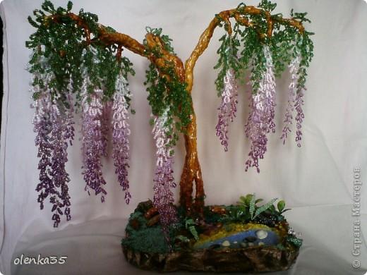 Глициния-дерево из бисера фото 3