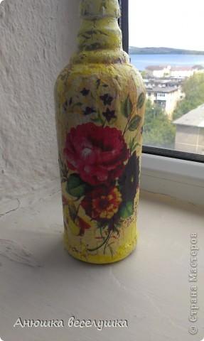 Бутылка. Кракле на ПВА.  фото 1