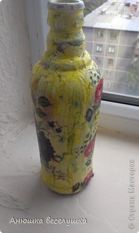 Бутылка. Кракле на ПВА.  фото 4