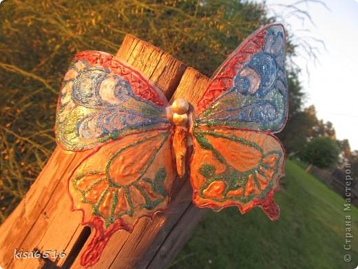 Бабочка. Крылья расписаны витражными контурами.    фото 1