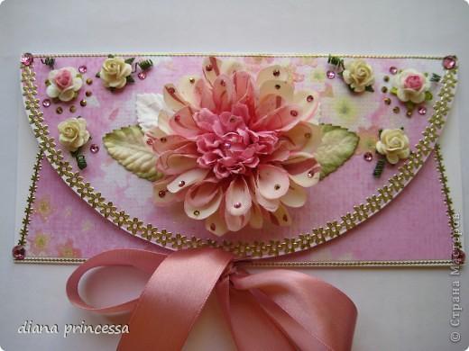 конверт для денег с объёмным цветком фото 1